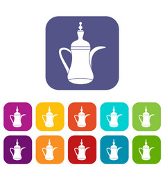 Oriental teapot icons set vector