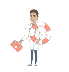 paramedic holding first aid box and lifebuoy vector image
