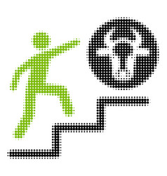 Person climbing to cow halftone icon vector