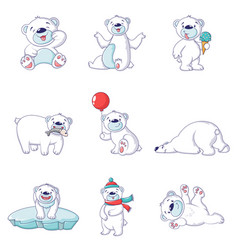 polar bear baby white icons set cartoon style vector image