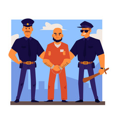 Police officers characters arrest or escort vector
