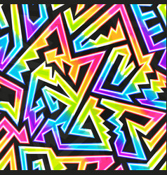 rainbow neon geometric seamless pattern vector image