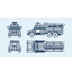 red fire engine top front side back view line vector image