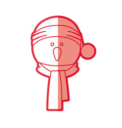 Red silhouette of snowman face with scarf and vector