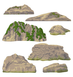 Rocks hills and stones isolated vector