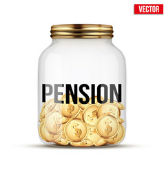 saving money coin in jar with pension label vector image