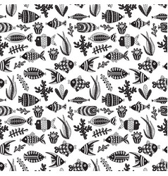 seamless pattern with cute fishes and seaweeds vector image