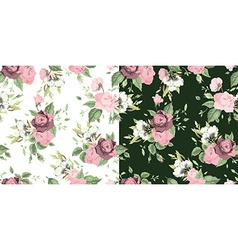 set of seamless floral patterns with roses vector image