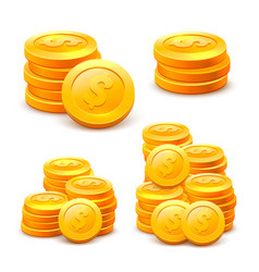 Set stacks coins on white background vector