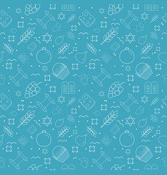Shavuot holiday flat design white thin line icons vector