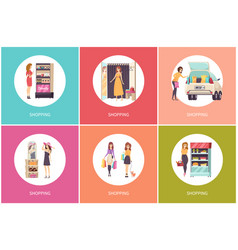 Shopping women in shops poster with text vector