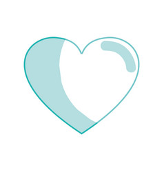 silhouette cute heart love icon vector image