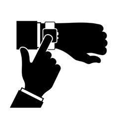 Silhouette of Arm with a Smartwatch vector image