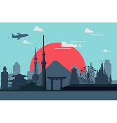 Silhouette tokyo city in japanjapan landmarks f vector