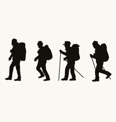 silhouettes male hikers with backpacks vector image