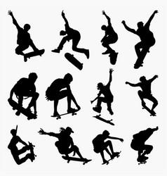 skate board 2 silhouettes vector image