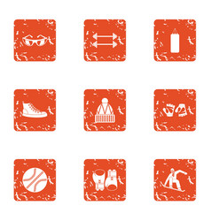 Sport commonwealth icons set grunge style vector