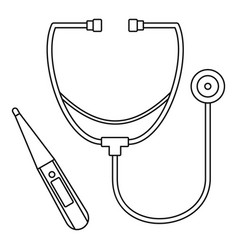 stethoscope thermometer icon outline style vector image