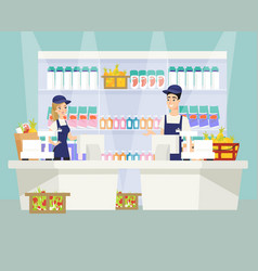 supermarket checkout flat vector image