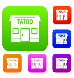 tattoo salon building set color collection vector image