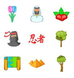 Terra firma icons set cartoon style vector