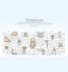 thin line engineer poster banner template vector image