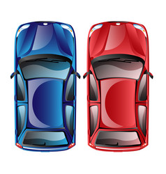 Top view on different colorful car vector