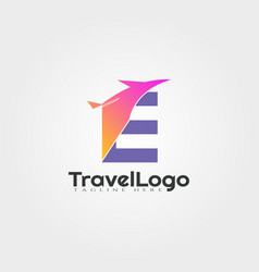 Travel agent logo design with initials e letter vector