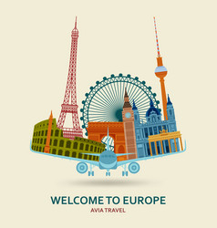 Travel in europe concept european most famous vector