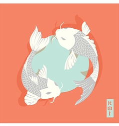 Two carp koi fish swimming around Sun traditional vector
