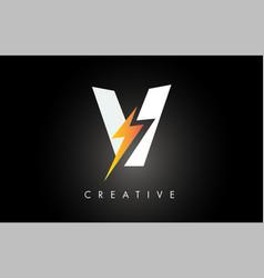 v letter logo design with lighting thunder bolt vector image
