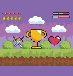 Videogame scene with pixelated cup prize and vector