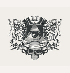 Vintage coat of arms with all-seeing eye and skull vector