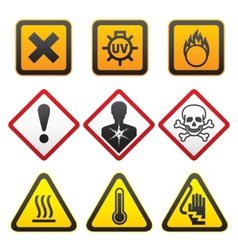 Warning symbols hazard signsforth set vector