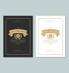 Wedding save the date invitations cards design vector