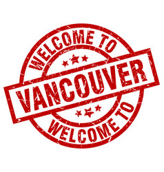 Welcome to vancouver red stamp vector