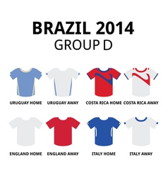 World Cup Brazil 2014 - group D teams jerseys vector image