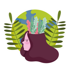 world mental health day girl with leaves in head vector image