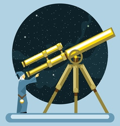 Ancient mag looking into a telescope and pointing vector image vector image