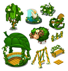 big set of scenery for location plants style vector image vector image