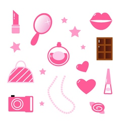 girly icons vector image vector image