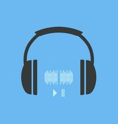 headphones icon headphones icon with sound waves vector image
