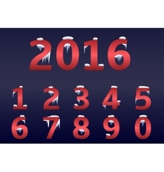 Red number set vector image vector image