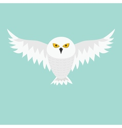 Snowy white owl Flying bird with big wings vector image vector image