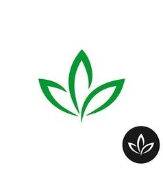 Three green leaf logo natural plant symbol vector