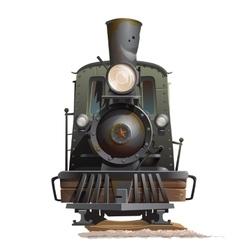 Train locomotive front view vintage transport vector