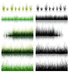 Big Set of Green and Black Grass isolated on white vector image vector image
