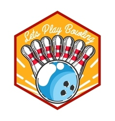 Color vintage bowling emblem vector image vector image