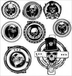 grunge skull rubber stamps vector image