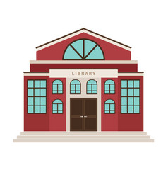 red library cartoon building icon vector image vector image